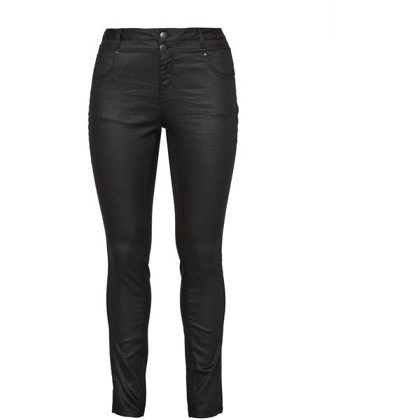 Zizzi Black Plus Size Nille coated skinny jeans ($73) ❤ liked on Polyvore featuring jeans, black, plus size, zipper jeans, rocker jeans, slim skinny jeans, plus size skinny leg jeans and plus size skinny jeans