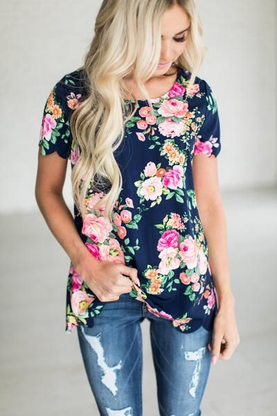 Navy Floral Scallop Top