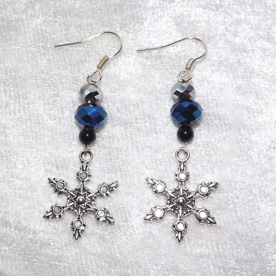 Earrings  Frozen Snowflakes  Glass & Gemstone  by KasumiCrafts