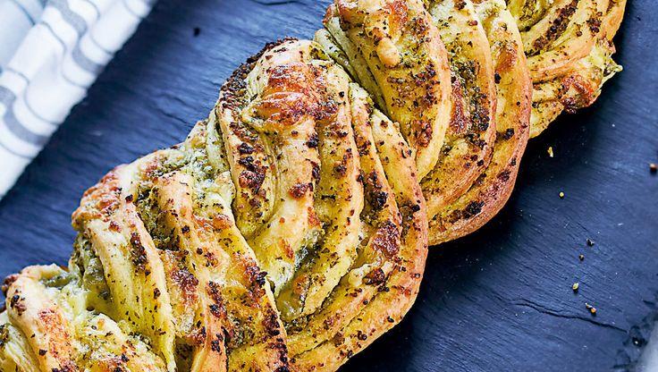 Et smukt og meget velsmagende brød med pesto