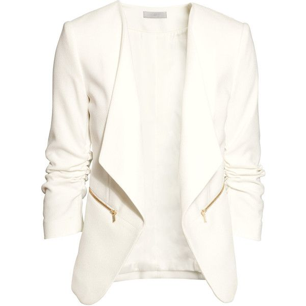 H&M Jacket with a shawl collar ($46) ❤ liked on Polyvore featuring outerwear, jackets, blazer, tops, casacos, white, h&m jackets, shawl collar jacket, pocket jacket and lined jacket