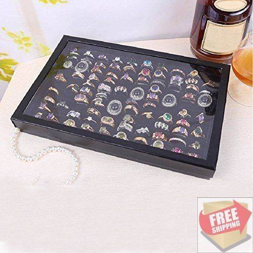 HOT! 100 Slot Ring Case Organizer Jewellery Display Holder Storage Display Tray #Lookatool