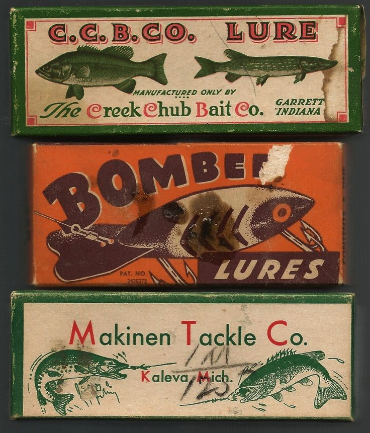 Vintage fishing lure boxes. (Would duplicate to make a mock vintage sign for garage)