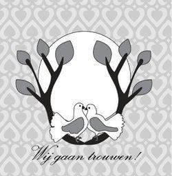 Twee witte duiven in boom op grijze achtergrond. Romantische trouwkaarten voor de mooiste dag van je leven! http://www.trouwpost.nl/trouwkaarten/romantisch