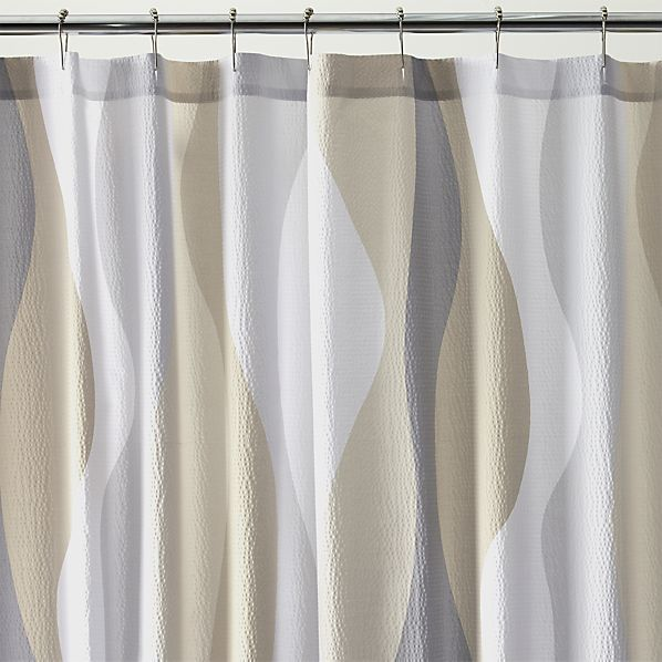 Taupe, Grey, White Italian Seersucker Natural Shower Curtain ~ Crate & Barrel