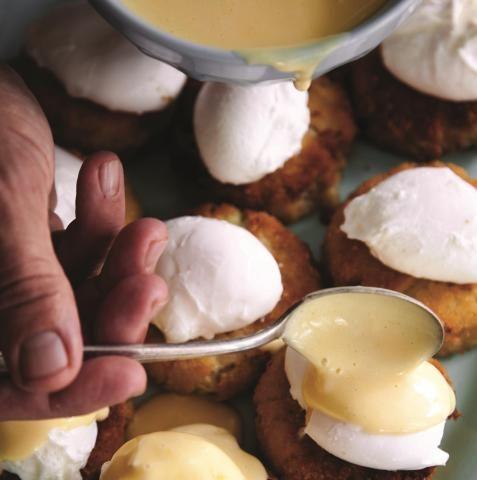 Poached Eggs & Satsuma Hollandaise over Crab Cakes | Louisiana Kitchen & Culture