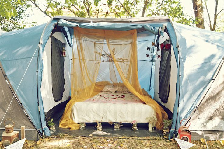Who needs fancy hotels, how about a camping honeymoon suite?!