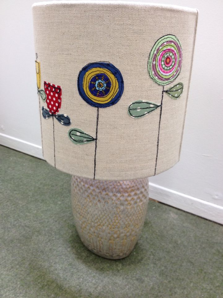 Machine embroidered lamp shade by Zoe wright textiles #flowers