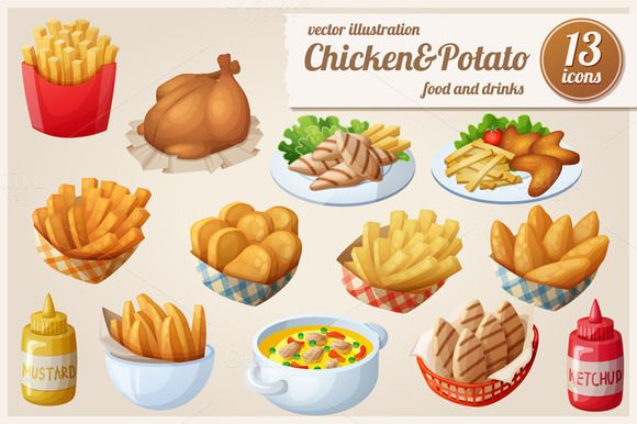 Chicken&Potato: Vector food icons by Ann-zabella on Creative Market