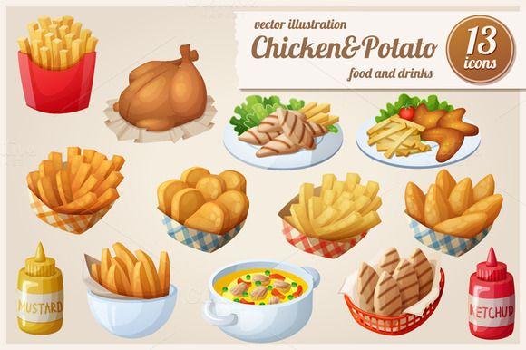 Chicken&Potato: Vector food icons by Ann-zabella on Creative Market