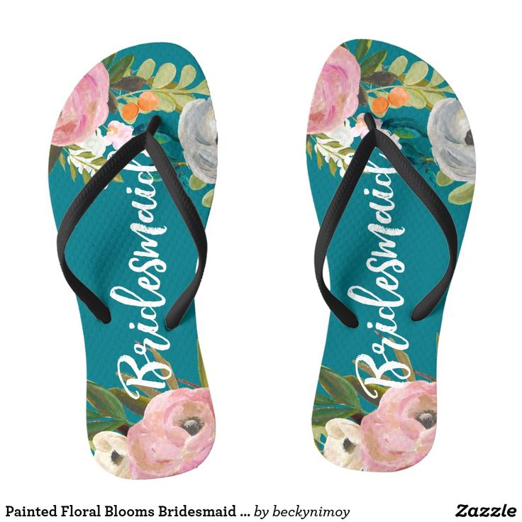 """Painted Floral Blooms Bridesmaid Flip Flops White script """"Bridesmaid"""" over exquisite acrylic florals and custom color background. The gorgeous florals are by Create the Cut."""