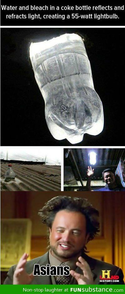 Solar light bulb. Brilliant! His hair makes me laugh every time