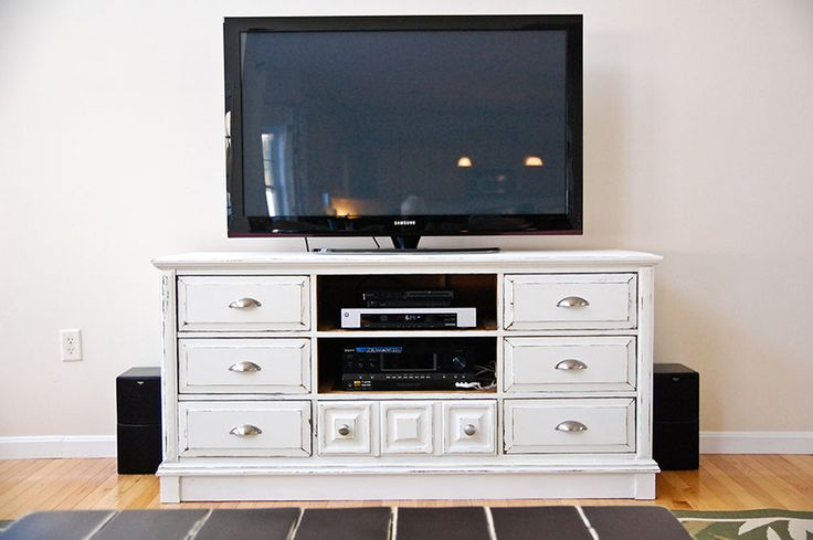 Dresser to tv stand. Maybe Daniel will let me do this for our bedroom once he stops using our old dresser for a tool box, lol