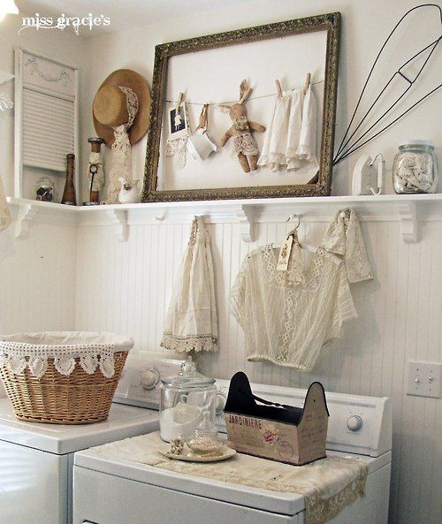 Shabby Chic Laundry Room - this is such a pretty and functional space with lots of creative ideas!  @missgracieshouse.