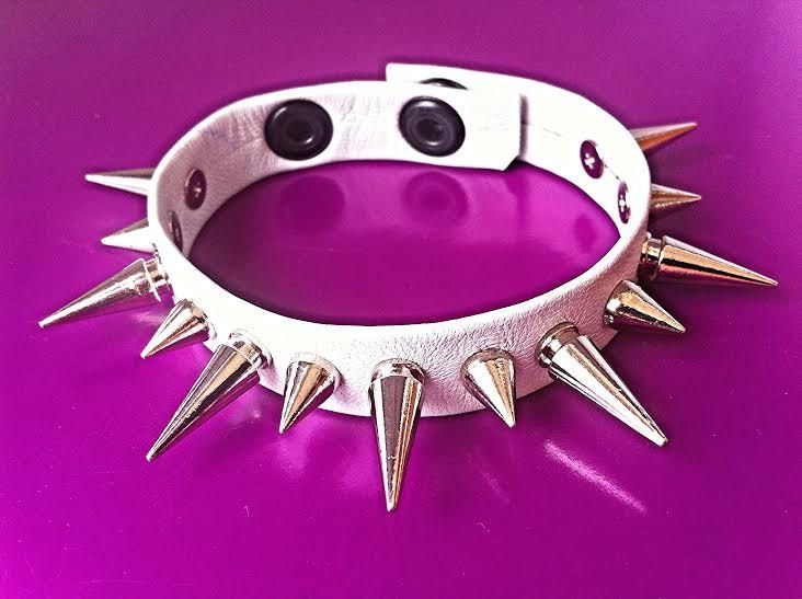Genuine Leather Strap Style Super Soft Spiked White Bracelet with X-Large & Small Spikes by ToxifyDesigns on Etsy