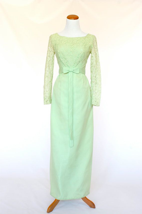 60's Vintage Prom Dress Soft Green Long Dress by pinebrookvintage, $54.00  NEW!!! Soft Green and Lace Prom Dress. Just Heavenly!
