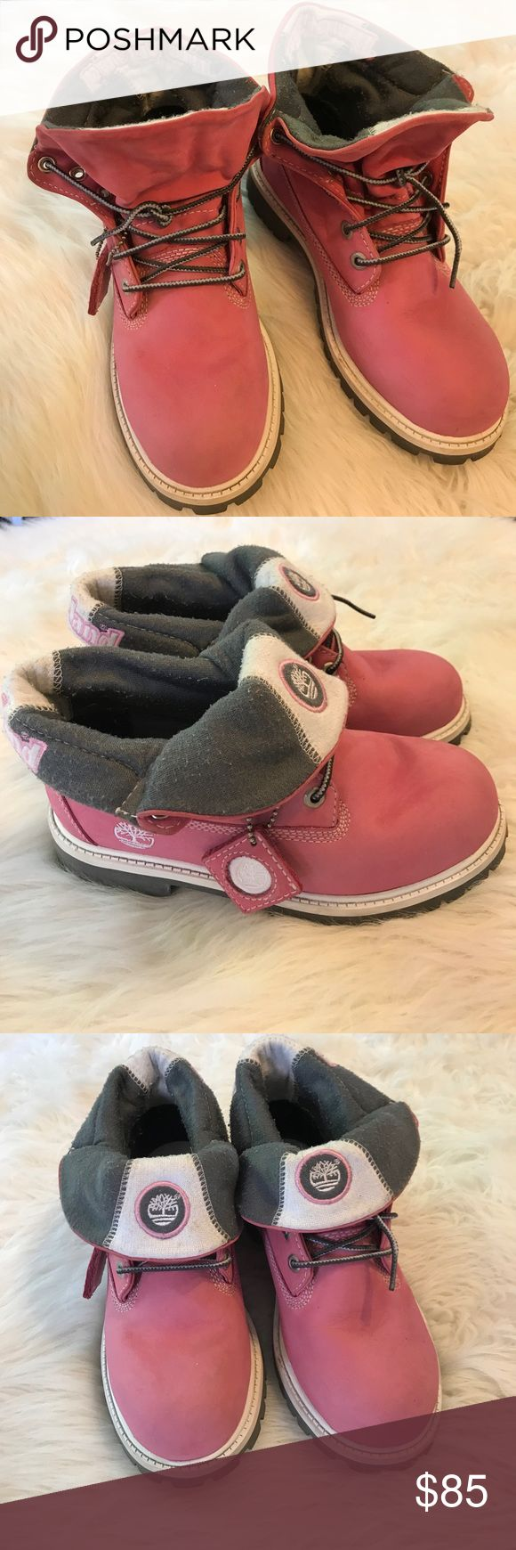 Timberland pink boots with folding top Iike new barley worn youth 5.5 fits like 6 women Timberland Shoes Rain & Snow Boots #outdoorshoes