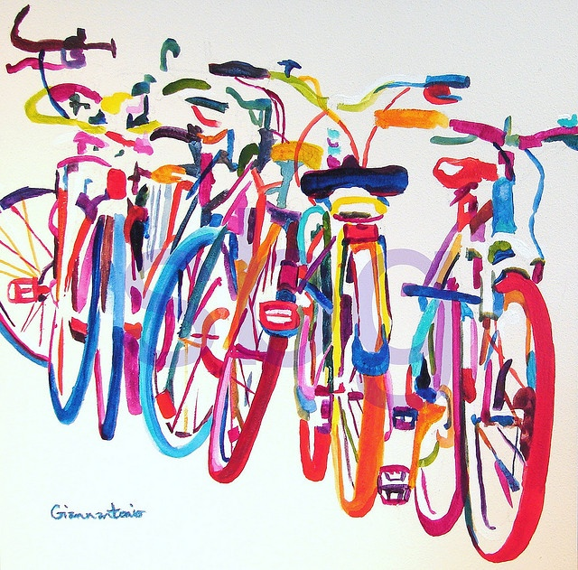 "Bicycles by Susan Giannantonio - acrylic ink on claybord, 12"" x 12"""