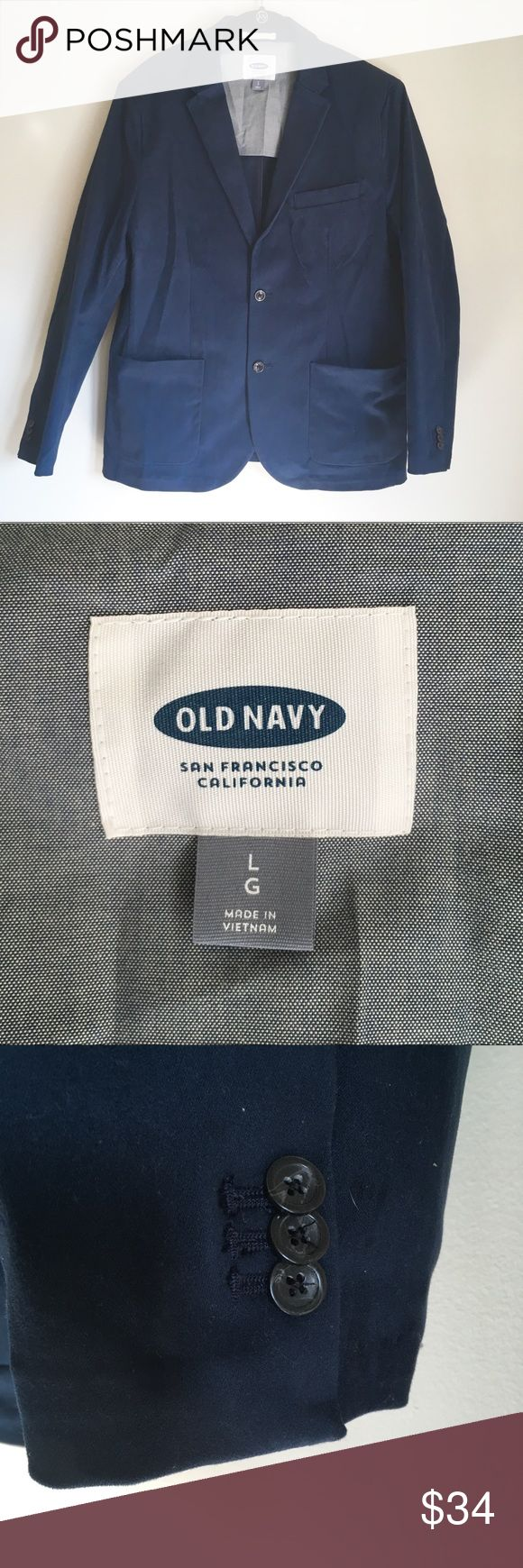 Old Navy casual blazer navy blue sports jacket Old Navy men's blazer in navy blue. Old Navy casual blazer in ink blue. Old Navy sports jacket. Size large. Worn one time. Has double button closure, and two open pockets at the waist with one open pocket on the chest. A soft velvet-y feeling material. The shell is 98% cotton and 2% spandex and the body lining is 100% cotton. Bundle to save! Old Navy Suits & Blazers Sport Coats & Blazers