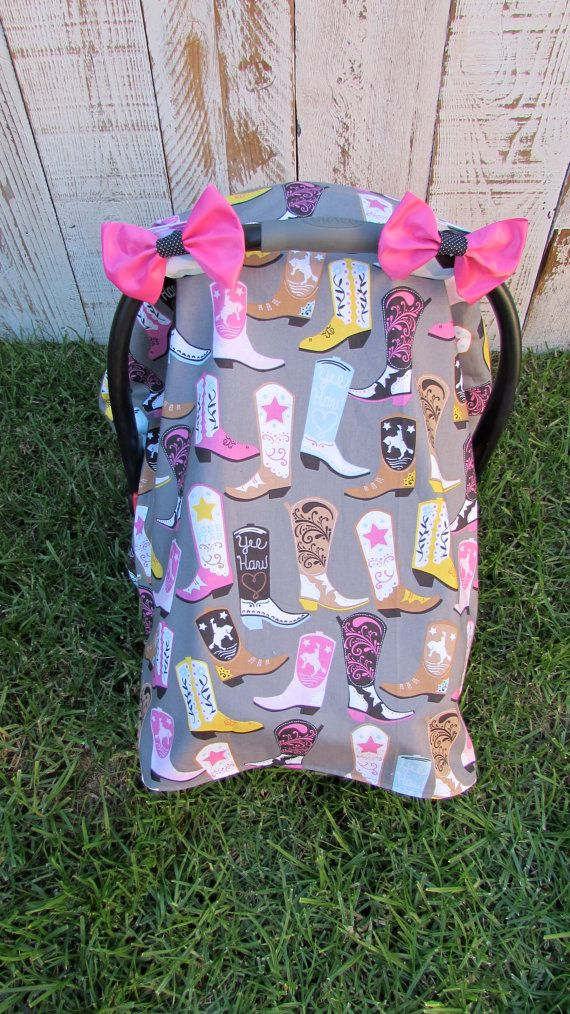 Baby Girl Cowgirl Boot Car Seat Canopy by SugarPeasCreations