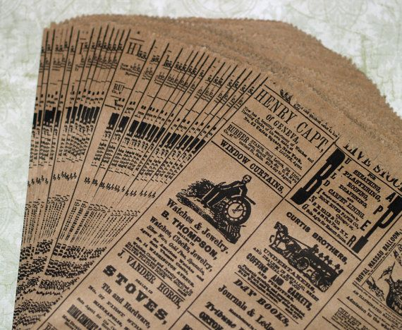 Awesome kraft paper bags with vintage look newsprint! These merchandise bags are the perfect way to wrap up gifts, products, goodies, or even wedding