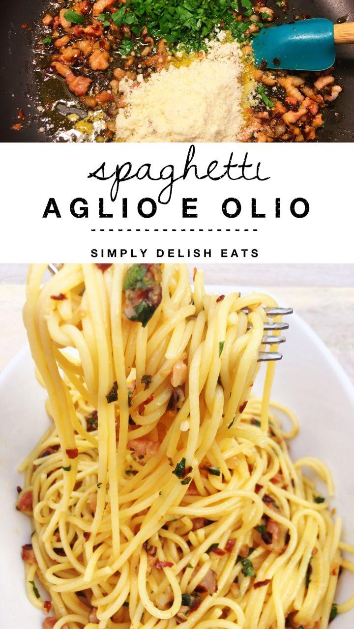 Spaghetti Aglio E Olio with pancetta - so light and full of flavor!