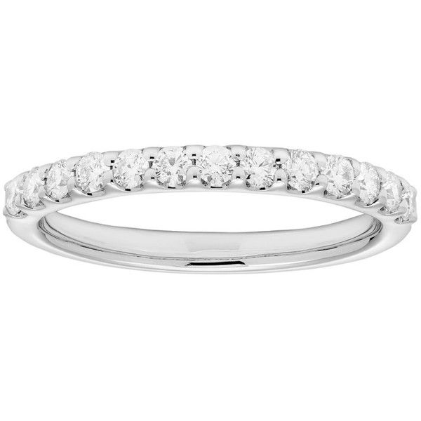 Platinum 3/8 Carat T.W. IGL Certified Diamond Wedding Band ($1,600) ❤ liked on Polyvore featuring jewelry, rings, white, platinum wedding rings, round wedding rings, platinum jewellery, wedding band ring and platinum jewelry