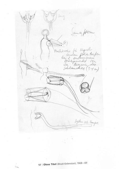 Rebecca Horn | Untitled (Breast Extension), 1968-69 [materiali: grafite su carta; dimensioni cornice: 479 x 379 x 40 mm; collezione: Tate]