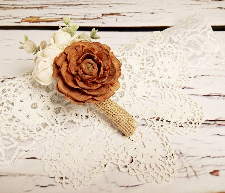 Cream brown rustic wedding Rustic BOUTONNIERE / CORSAGE groom groomsman, Sola Flower, cedar rose Wedding Flowers custom eucalyptus - pinned by pin4etsy.com