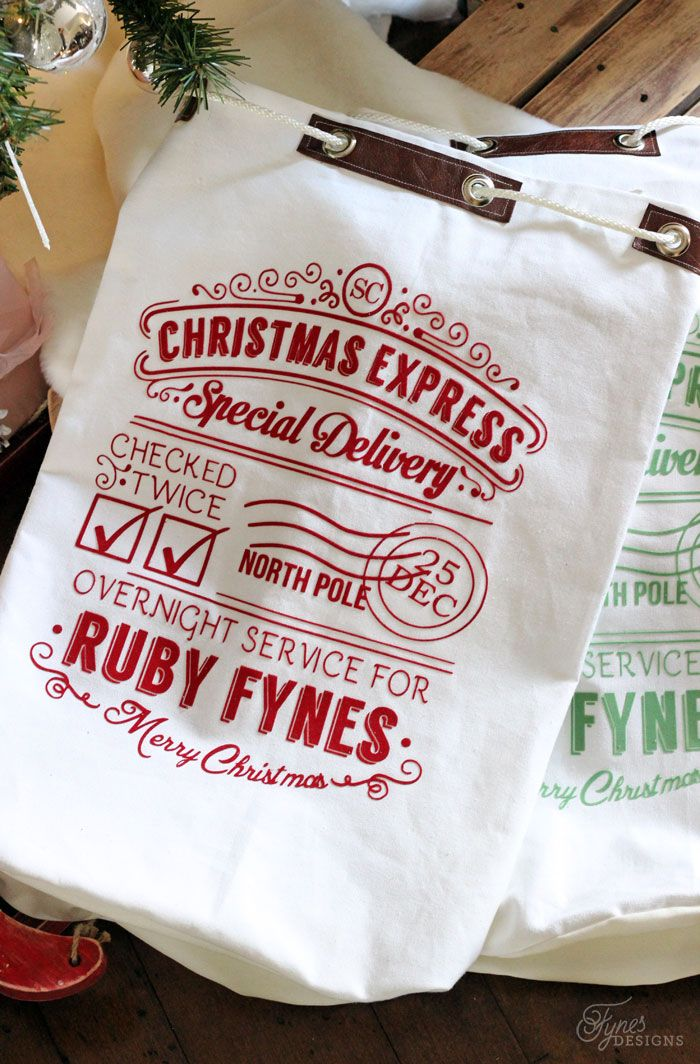 Create a personalized Santa Sack with your Silhouette @savvyy aaaahhhhhh!!!!!