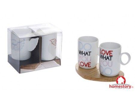 """Σετ 2τεμ espresso """"DO WHAT YOU LOVE"""" 90ML πάνω σε ξύλο με σχήμα καρδιά!"""
