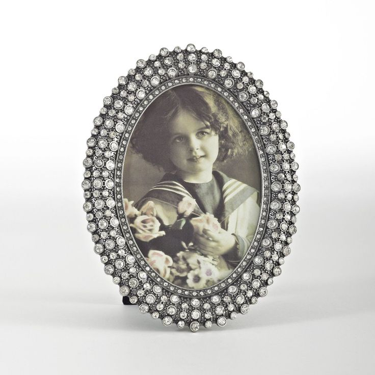 Saro Jeweled Oval Photo Frame