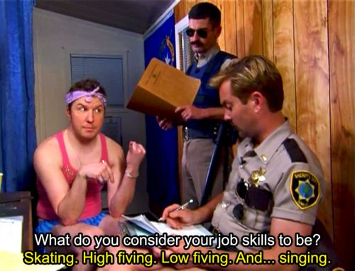 """Ltd Dangle: What do you consider your job skills? Terry: Skating. High fiving. Low fiving. And... singing"" - Nick Swardson as Taco Terry in Reno 911"