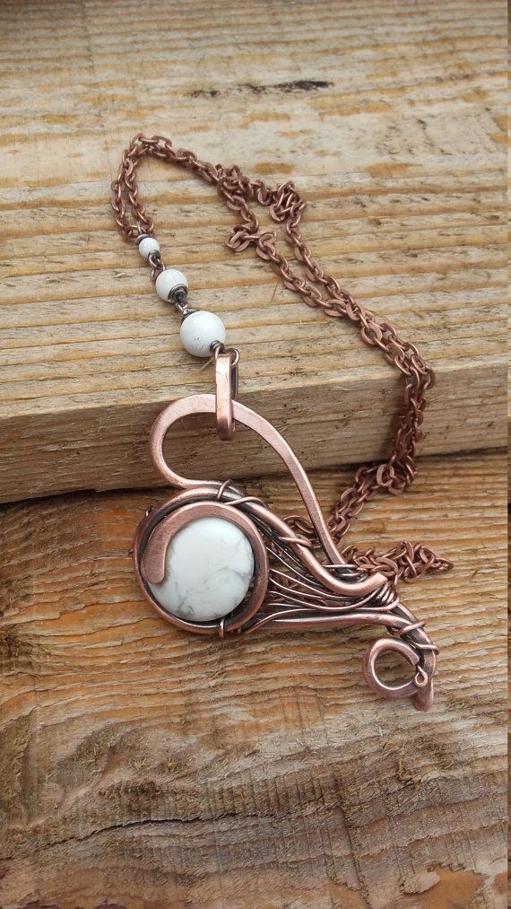 Wire wrapped heart pendant necklace with natural by Tangledworld