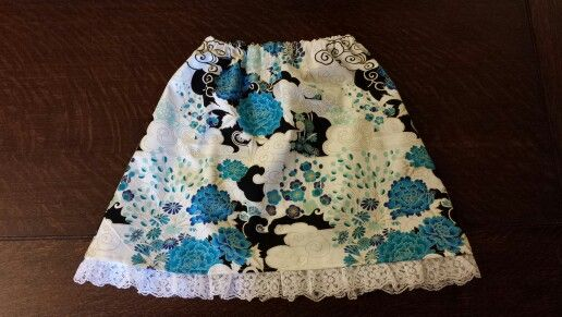 Girls skirt with lace trim