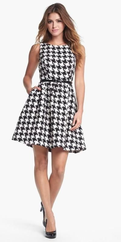 Cute houndstooth fit & flare dress.