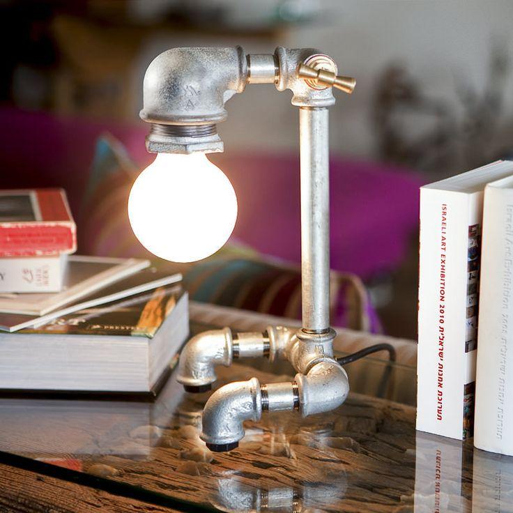 Kozo 11 iron pipe shelf lamp by Kozo Lamp handmade upcycled lighting design