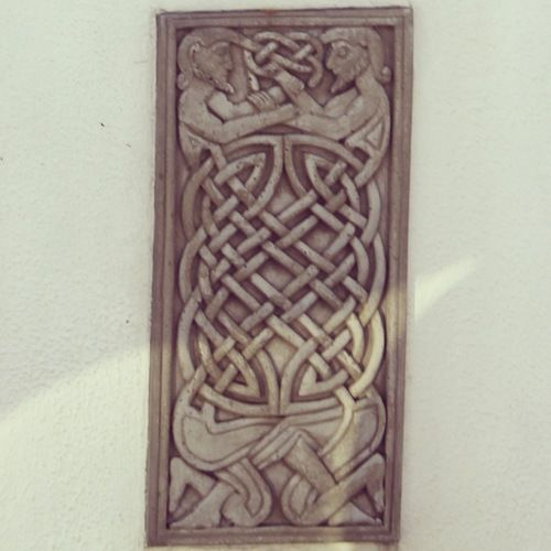 Celtic knotwork detail on a wall in Galway.