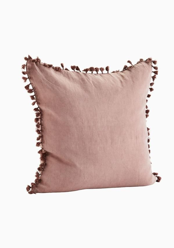 Extra Large Rose Linen Cushion With Mini Tassel Detailing In 2019