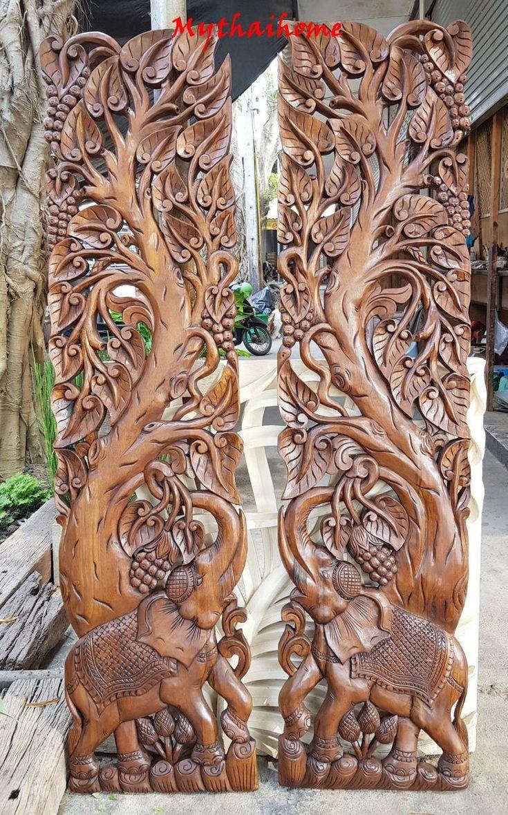 Set Large Teak Wood Sculpture 72 Quot Carving Dragon Swan