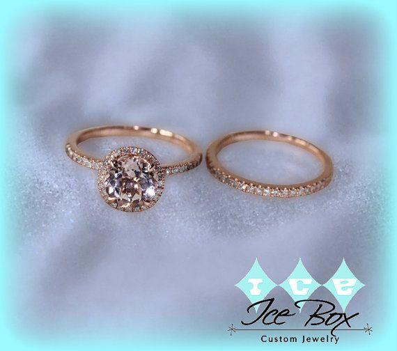 Morganite Engagement Ring Matching Diamond Band by InTheIceBox