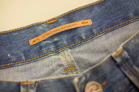 Hot printed leather label made in Italy by Panama Trimmings