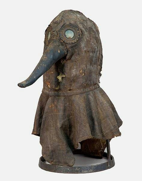 Original black plague mask worn by doctors