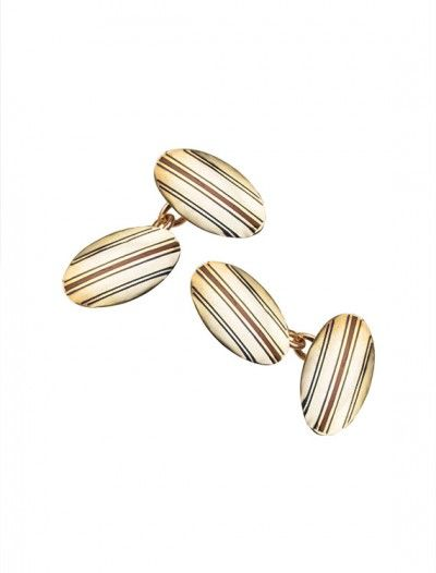 Yellow Gold Oval Chain Link Cufflinks - Available at Onyx Goldsmiths