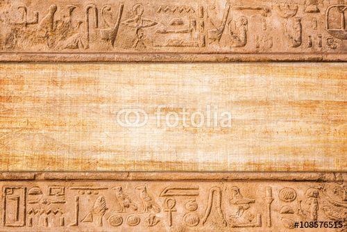 Illustration: old egypt hieroglyphs carved on the stone