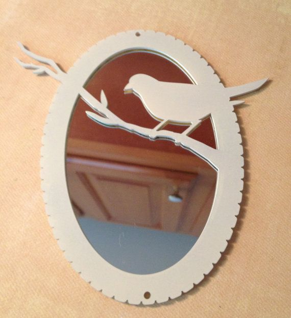 Bird ivory mini oval mirror  Hipster decor by TotallyLameRobot, $25.00