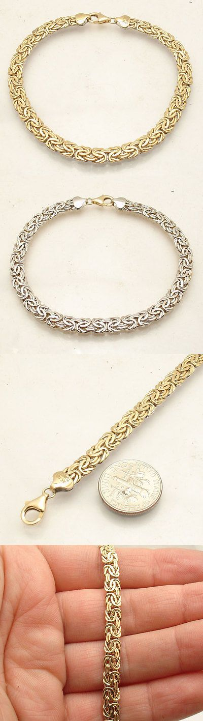 Precious Metal without Stones 164313: Reversible Shiny Byzantine Bracelet Real 14K Yellow White Gold Lobster Clasp Qvc -> BUY IT NOW ONLY: $249.2 on eBay!