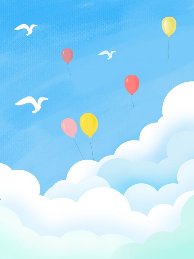 Full Hand Painted Blue Sky With White Clouds Background Blue Background Images Blue Sky Background Black And White Landscape