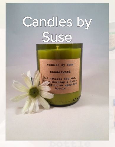 Candles by Suse have a  lovely selection of handmade soy candles from upcycled bottles.