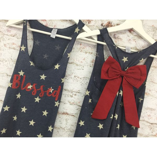 Glitter Blessed Bow Tank Top Star Tank Top 4th of July Tank American... ($25) ❤ liked on Polyvore featuring tops, grey, tanks, women's clothing, racer back tank top, american flag racerback tank, gray shirt, racerback tank and summer shirts